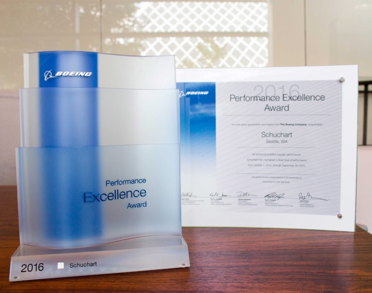 Schuchart Receives Boeing Performance Excellence Award