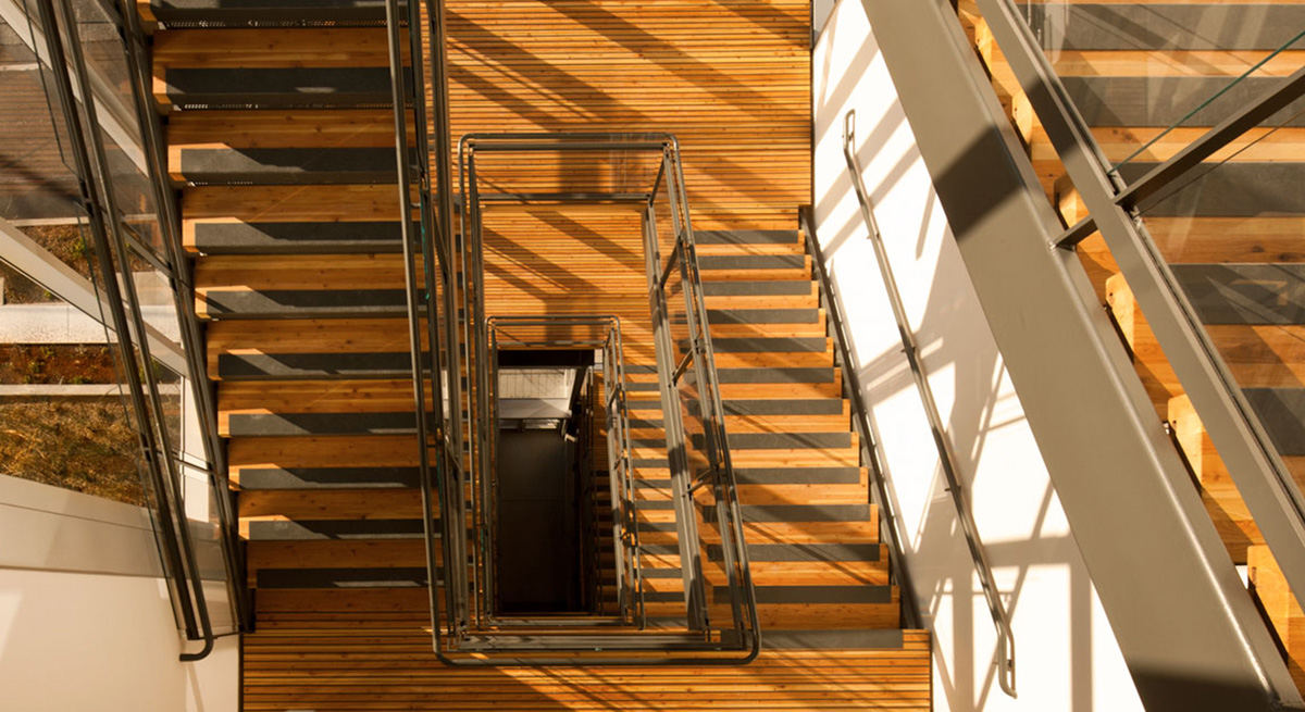 Interior stairwell of Bullitt Center