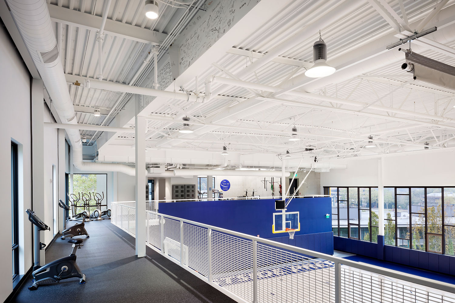 Gymnasium and basketball court interior