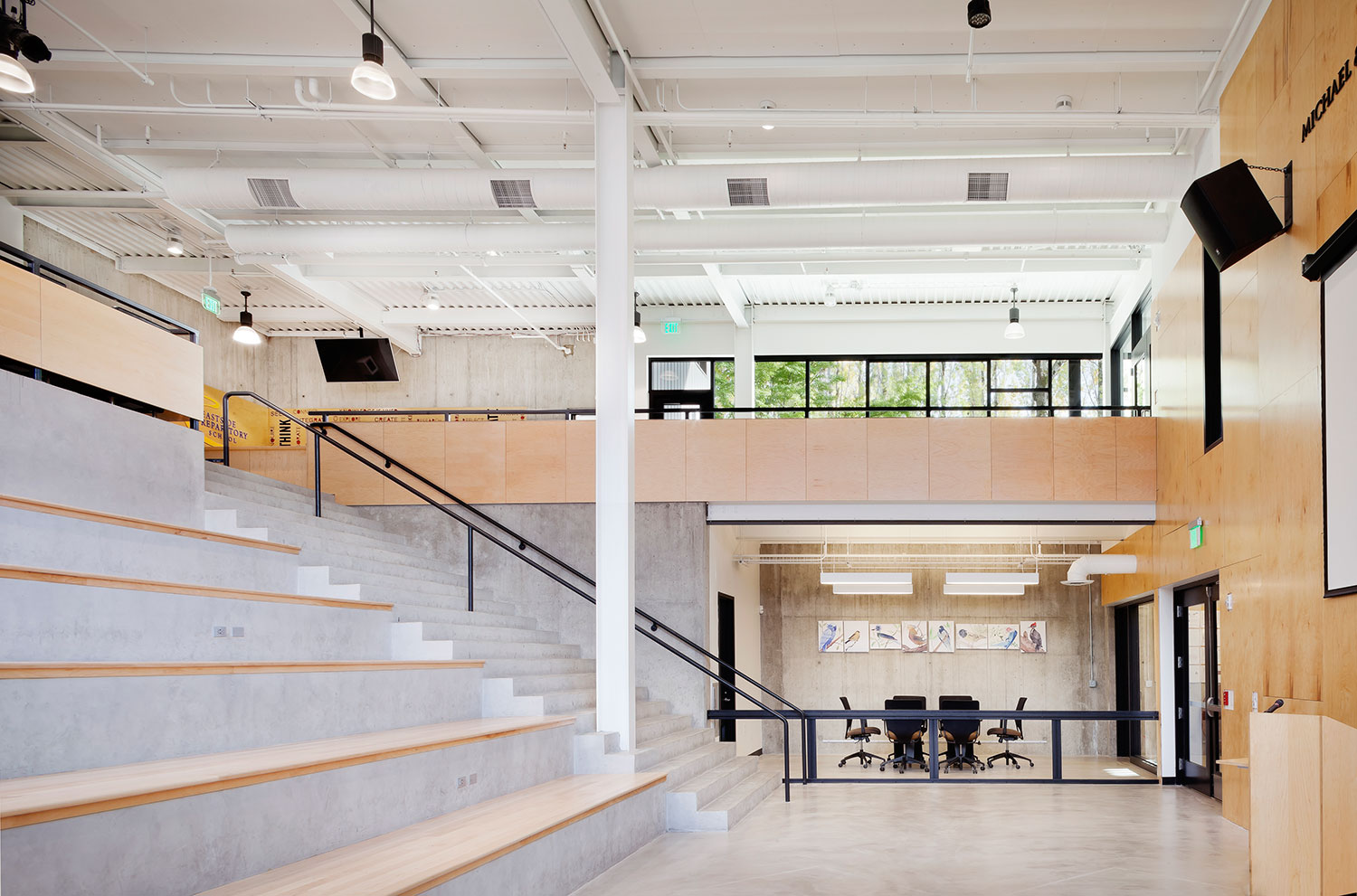 School lounge, stairs, and conference room