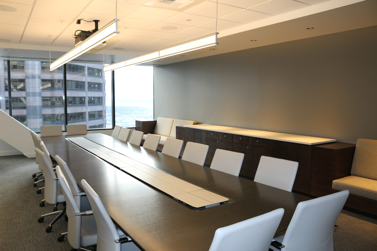 Conference room table with window view of Seattle