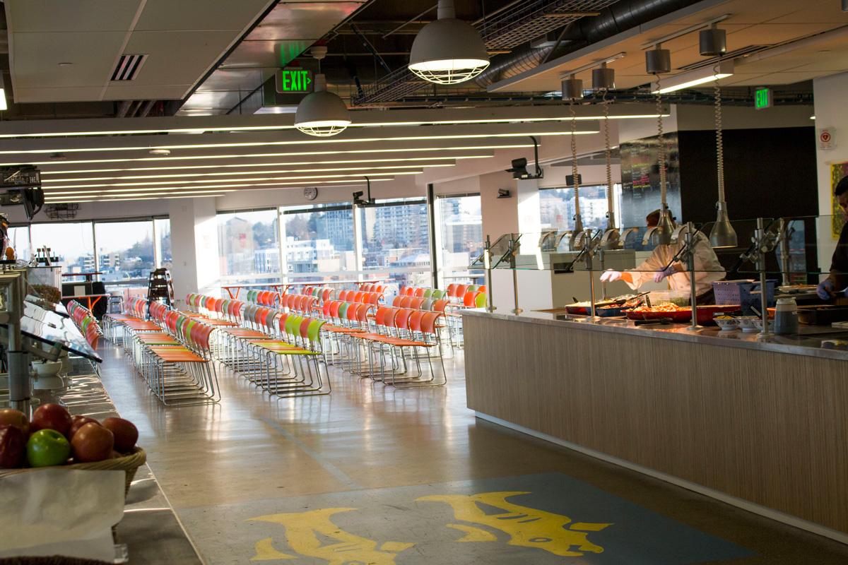 Facebook Metropolitan Park conference classroom and buffet