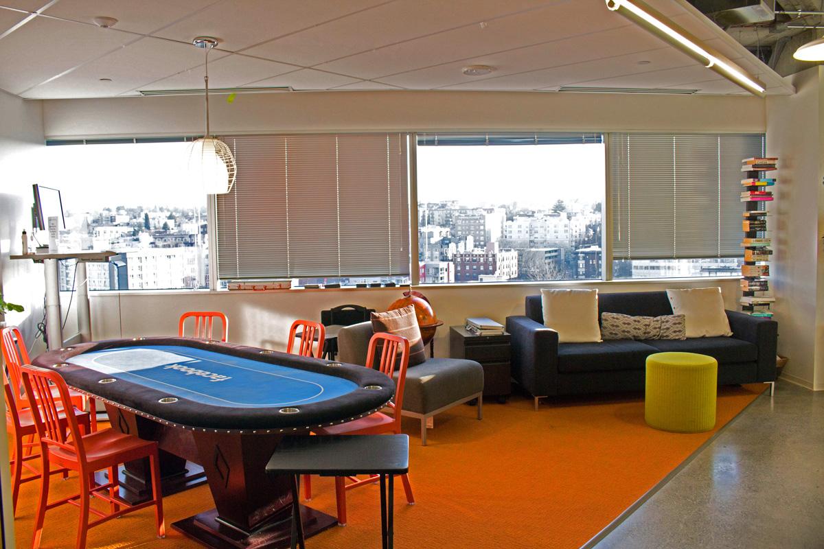 Facebook Metropolitan Park lounge and game room