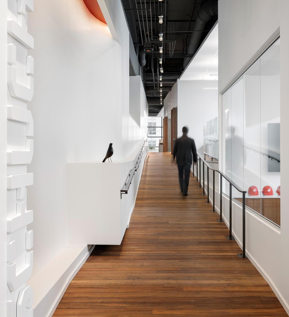 Schuchart office Seattle office hallway entry ramp, reclaimed wood