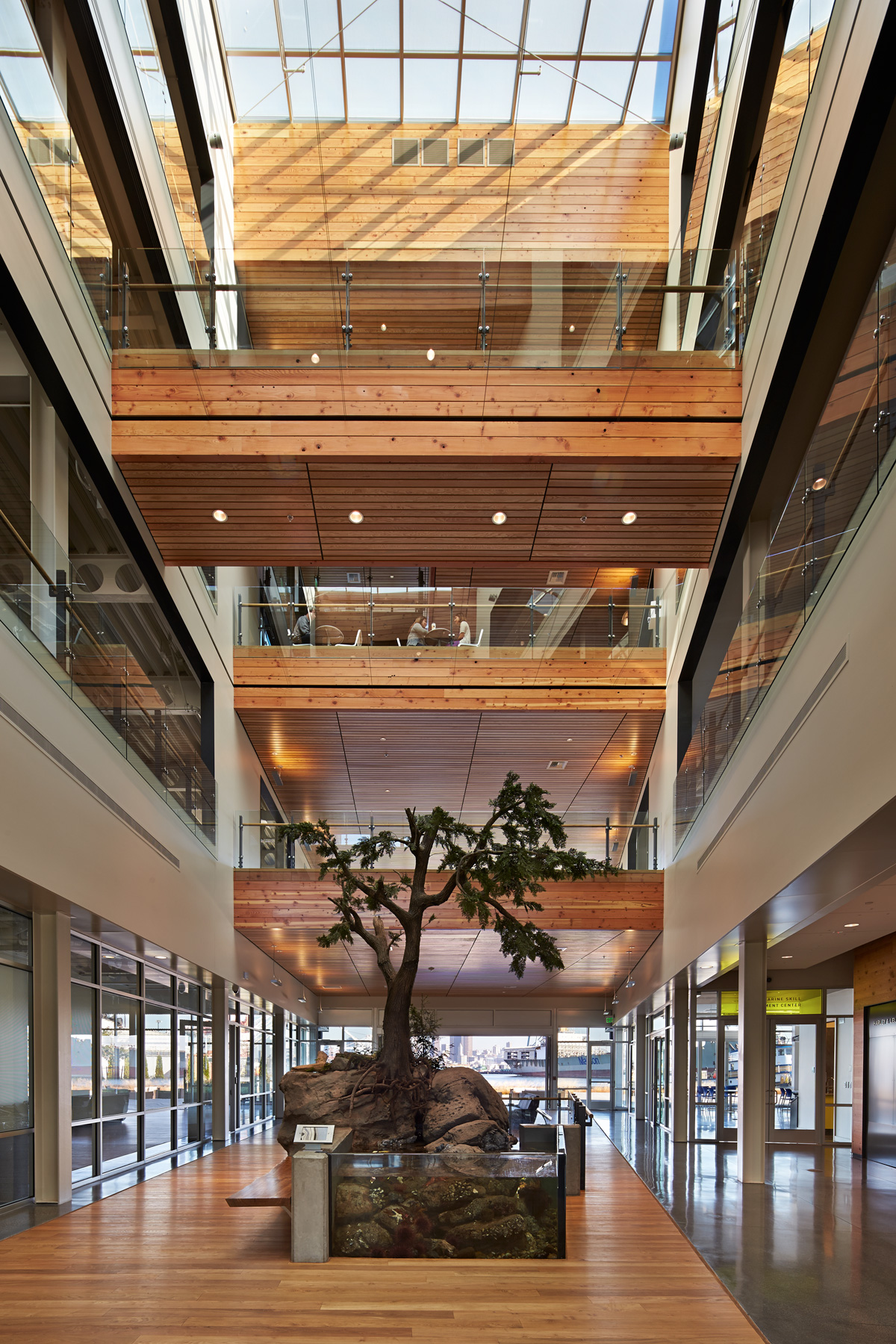 Harley and Lela Franco Maritime Center Lobby with tree