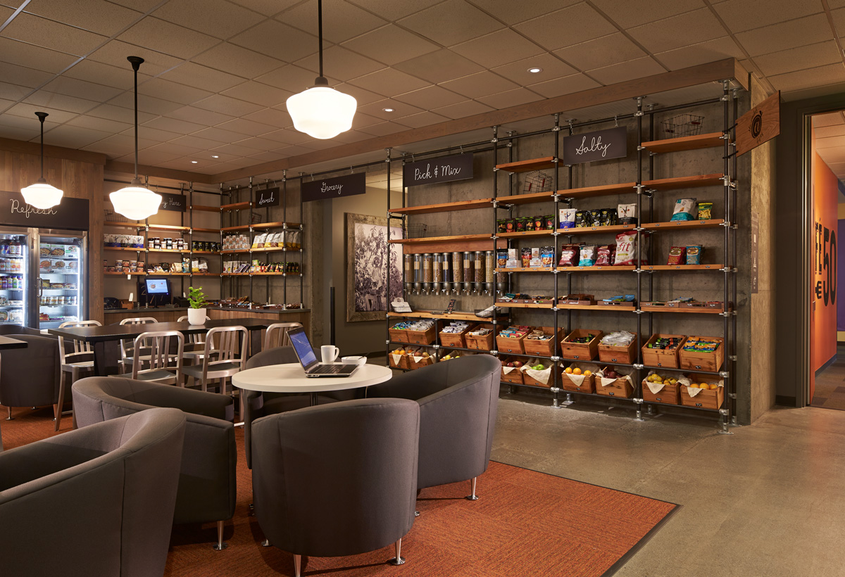 Microsoft B50 Cafe dining lounge and merchandising