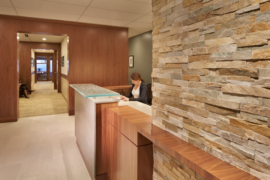 Private Bank Seattle building interior lobby and reception desk