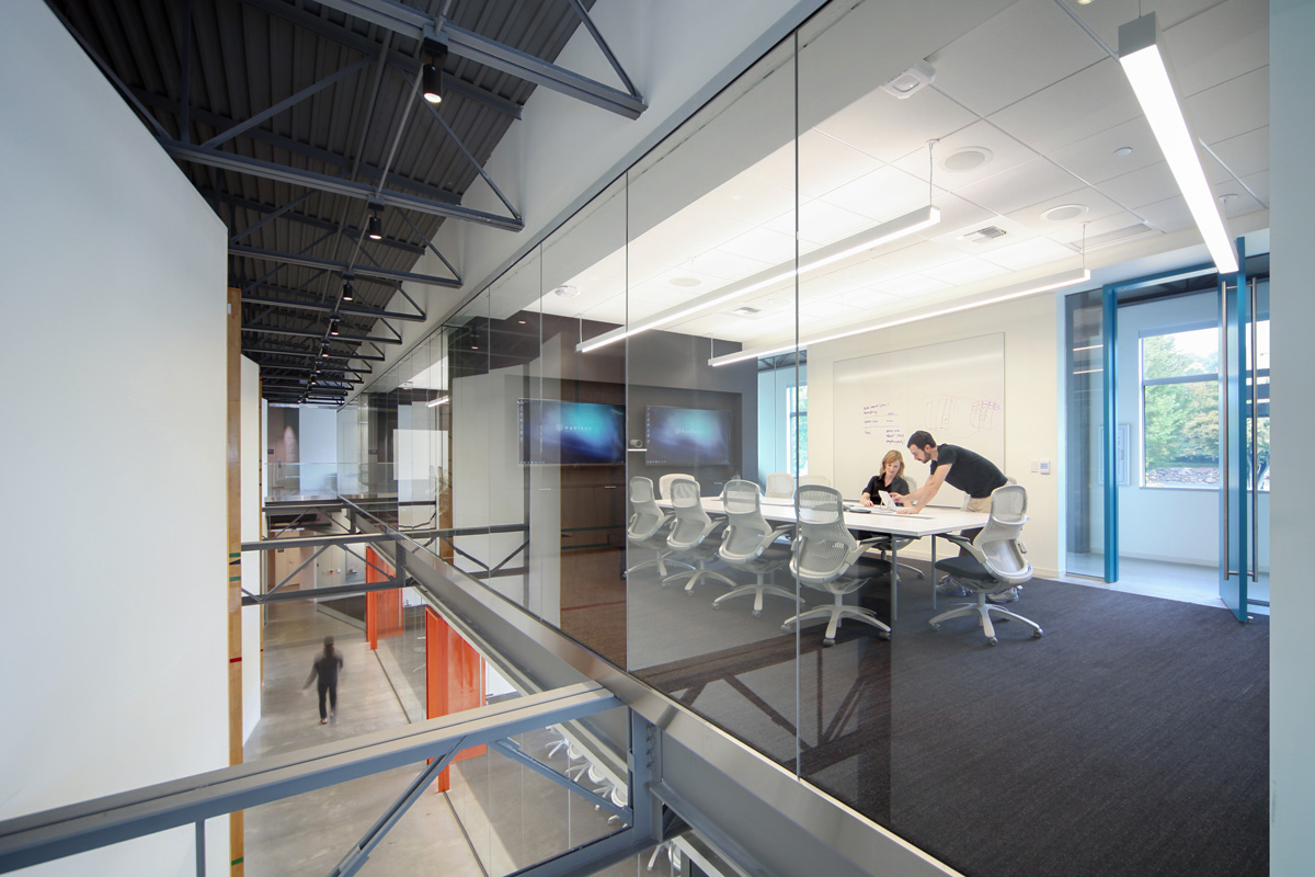 Tableau office hallway and conference room with big windows