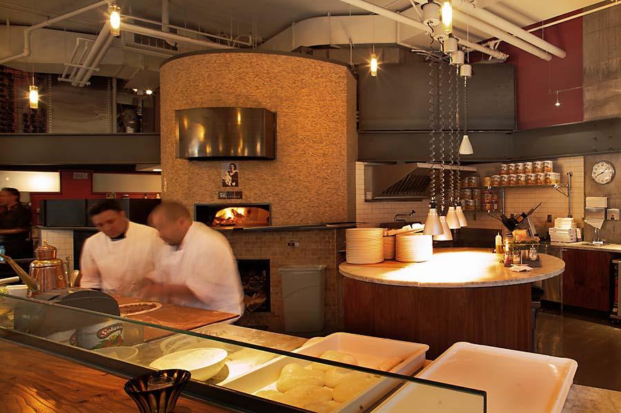 Tutta Bella Pizzeria restaurant, kitchen and wood fire stove