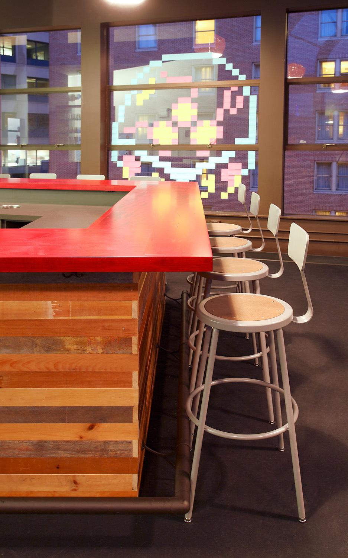 Zaaz bar reclaimed wood and stools