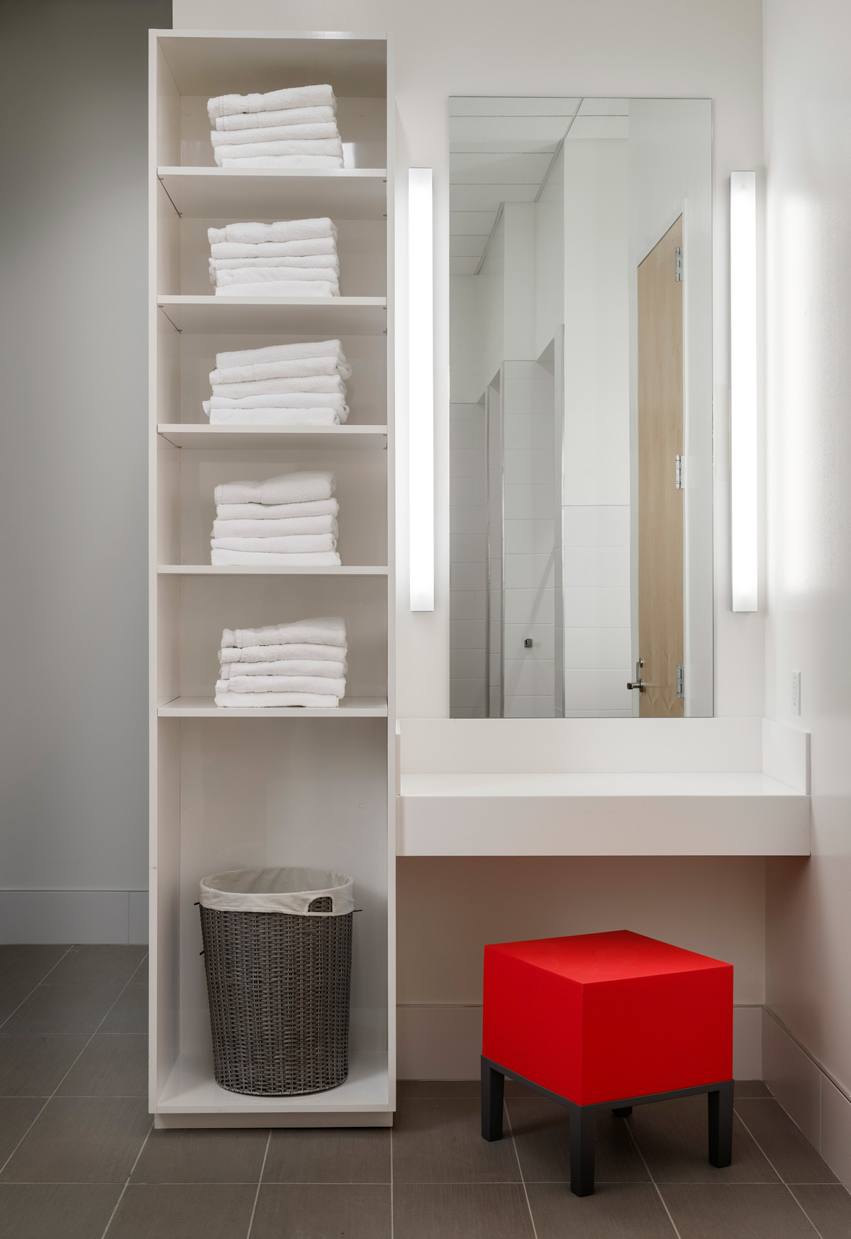 Hines PMO Seattle restroom vanity mirror