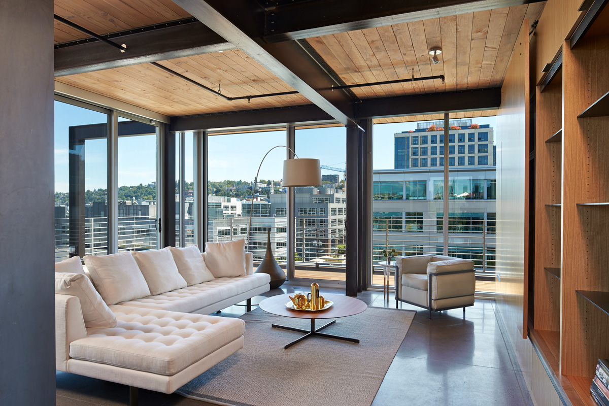325 Weslake living room interior with Seattle view