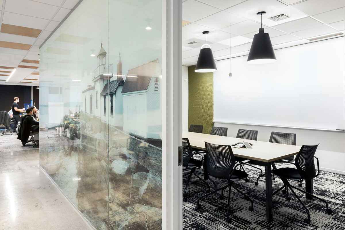 Office conference room with graphic window