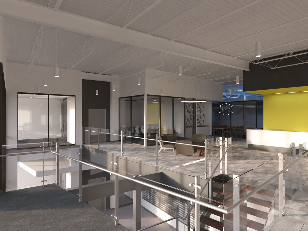 New lobby of ROMAC Industries office building