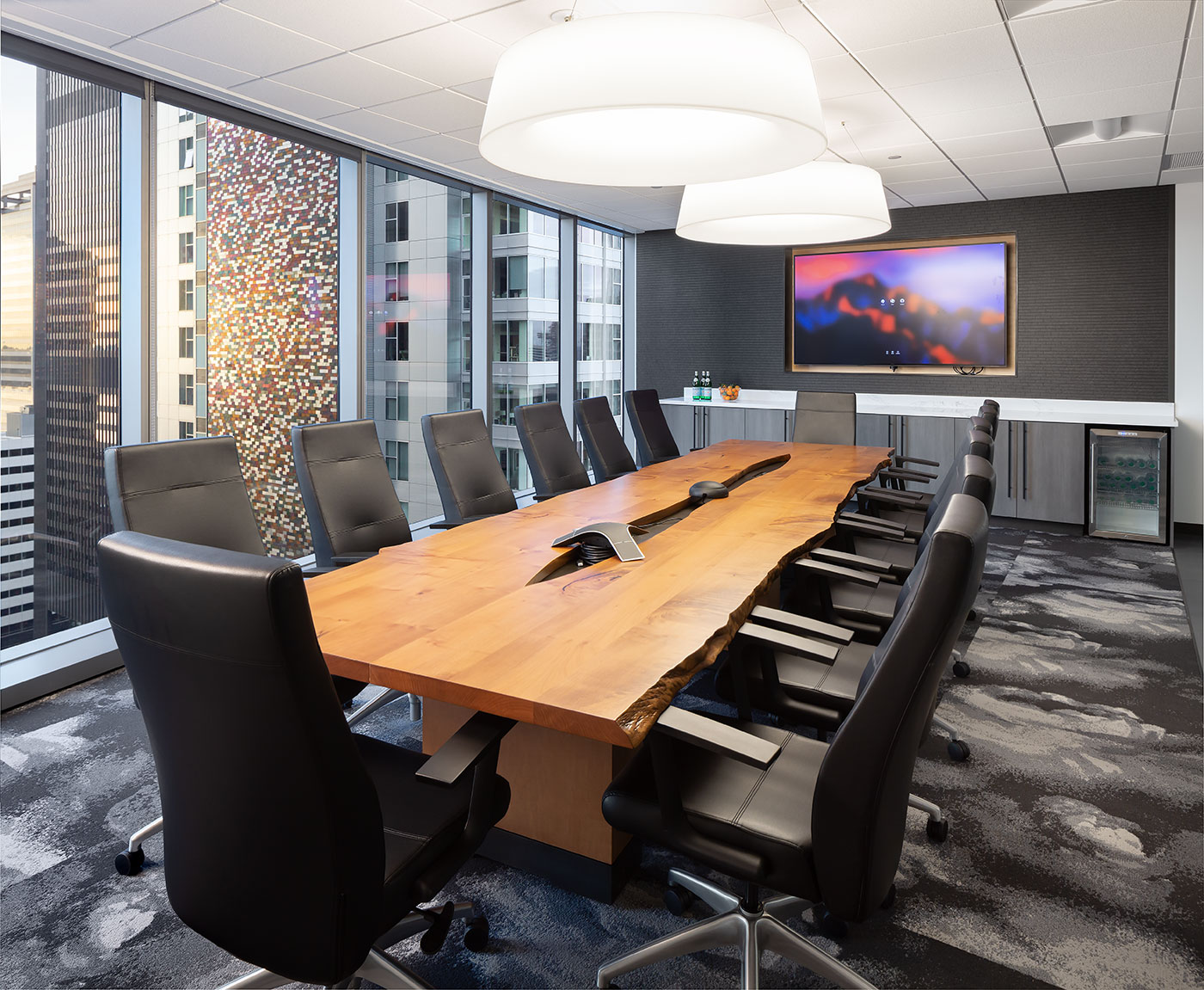Conference room with large wooden table