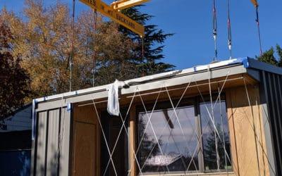 Schuchart helps place BLOCK home in backyard